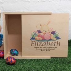 Personalised Wooden Easter Box - Sleepy Bunny