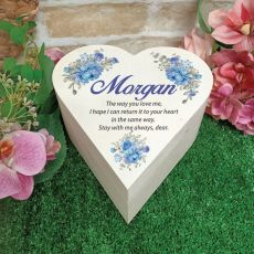 Personalised Wooden Heart Gift Box - Blue Floral