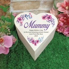 Mum Wooden Heart Gift Box - Watercolour Floral