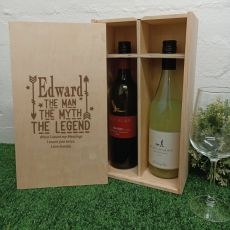 The Legend  Personalised Double Wine Bottle Box