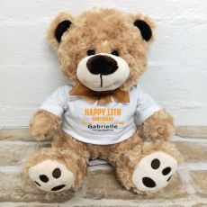 13th Birthday Teddy Bear Brown Plush - Malcolm