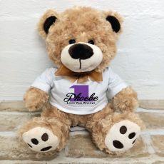 1st Birthday Number Bear Brown Plush - Malcolm