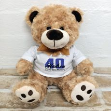40th Birthday Number Bear Brown Plush - Malcolm