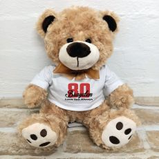 80th Birthday Number Bear Brown Plush - Malcolm