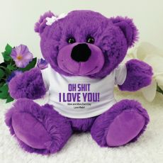 Naughty I Love You Valentines Bear - Purple