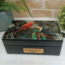 Baptism Black Glass Personalised Trinket Box - Birds