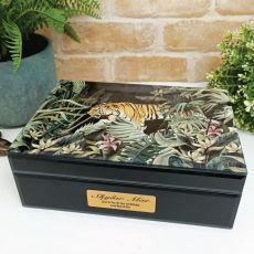1st Birthday Large Glass Personalised Trinket Box - Tiger
