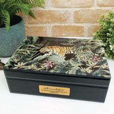 Personalised Large Glass Personalised Trinket Box - Tiger