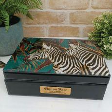 1st Birthday Large Glass Personalised Trinket Box - Zebra