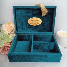 Grandma Personalised Jewel Box Teal Velvet