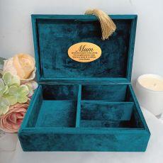 Mum Personalised Jewel Box Teal Velvet