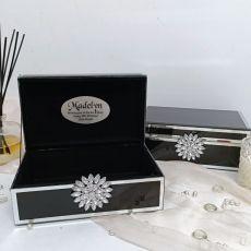 80th Birthday Black & Mirror Brooch Jewel Box
