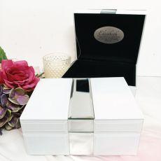 Graduation Silver & White Mirror Jewel Box