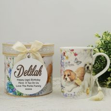 Birthday Mug with Personalised Gift Box Puppy