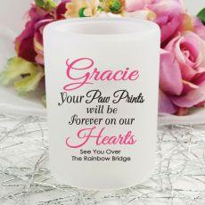 Pet Memorial Tea Light Candle Holder - Paw Prints