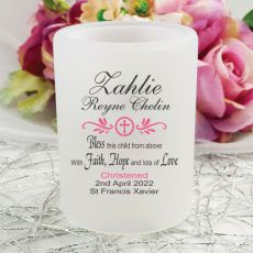 Personalised Christening Tea Light Candle Holder