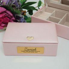 16th Birthday Pink Heart Personalised Jewel Box