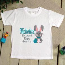 Kids Easter T Shirt - 2-6 Years - Egg Hunter Blue