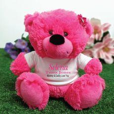 Newborn Personalised Teddy Bear Hot Pink