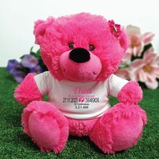 Personalised Baby Birth Details Teddy Bear Hot Pink