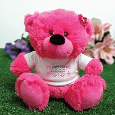 Grandma Personalised Teddy Bear Plush Hot Pink