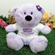 Personalised 1st Birthday Bear Lavender Plush