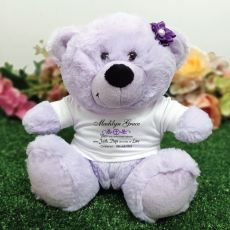 Christening Lavender Teddy Bear with Verse