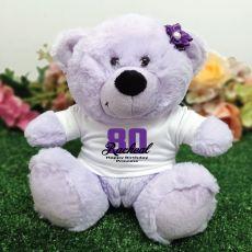 80th Birthday Personalised Teddy Bear Lavender Plush