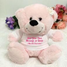 Custom Text T-Shirt Bear - Light Pink