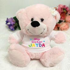 Big Sister Personalised Teddy Bear Light Pink