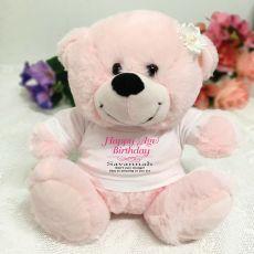 Personalised Birthday Bear Light Pink Plush