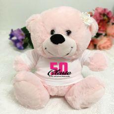 50th Birthday Personalised Teddy Bear Light Pink Plush
