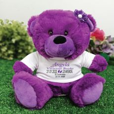 Personalised Baby Birth Details Teddy Bear Purple