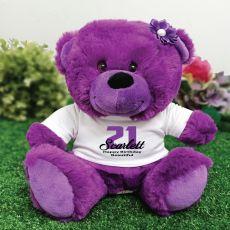 Personalised  21st Birthday Teddy Bear Plush Purple