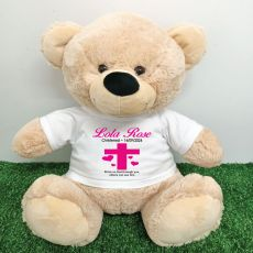 Christening Personalised T-Shirt Bear 40cm Cream
