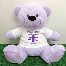 Baptism Personalised T-Shirt Bear 40cm Lavender