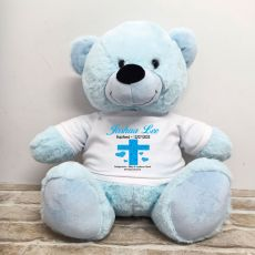 Baptism Personalised T-Shirt Bear 40cm Light Blue