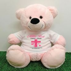 Christening Personalised T-Shirt Bear 40cm Light Pink