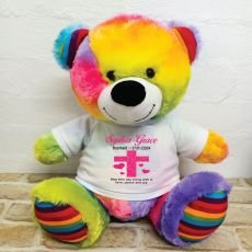 Baptism Personalised T-Shirt Bear 40cm Rainbow
