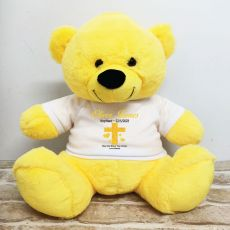 Baptism Personalised T-Shirt Bear 40cm Yellow