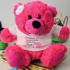 Personalised Angel Memorial Teddy Bear - Hot Pink