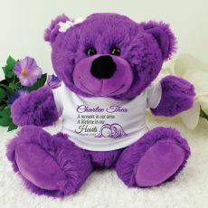Personalised Angel Memorial Teddy Bear - Purple