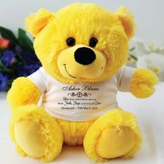 Personalised Christening Teddy Bear - Yellow