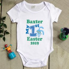 Personalised 1st Easter Bodysuit - Blue Bunny