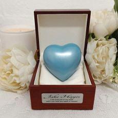 Memorial keepsake Urn For Ashes Blue Heart