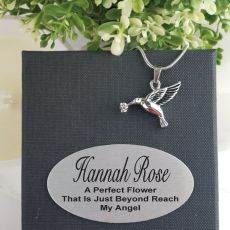 Silver Bird Urn Cremation Ash Necklace in Personalised Box