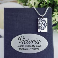 Family Tree Urn Pendant Necklace in Personalised Box