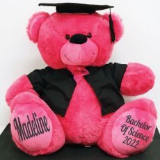 Personalised Graduation Bear Hot with Cape Pink 40cm