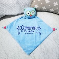 Personalised Baby Security Comforter Blanket - Blue Owl