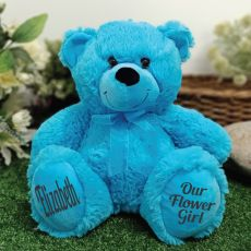 Flower Girl Teddy Bear 30cm Bright Blue